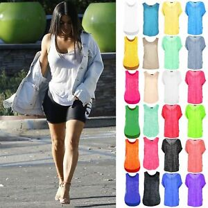 Womens-Burn-Out-Gym-Racer-Vest-Ladies-Casual-Neon-Loose-Tank-Top-Plus-Size-8-26