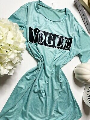 Womens LADIES Short Sleeve Vouge Slogan Printed Casual T Shirt 8-26
