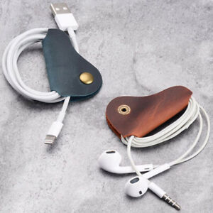 2PCS-Cords-Organizer-Headset-Headphone-Earphone-Wrap-Winder-Cowhide-Leather