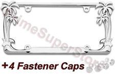Chrome Metal Tropical Palm Tree Car Truck License Plate Frame Tag Holder Caps