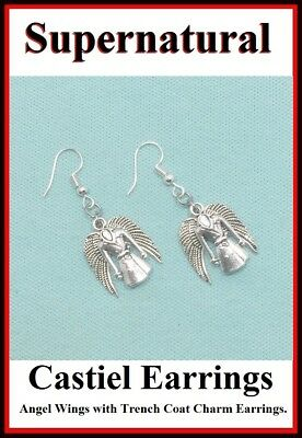 GIFT BOX OR POUCH SUPERNATURAL CASTIEL ANGEL STERLING SILVER 925 HOOK EARRINGS