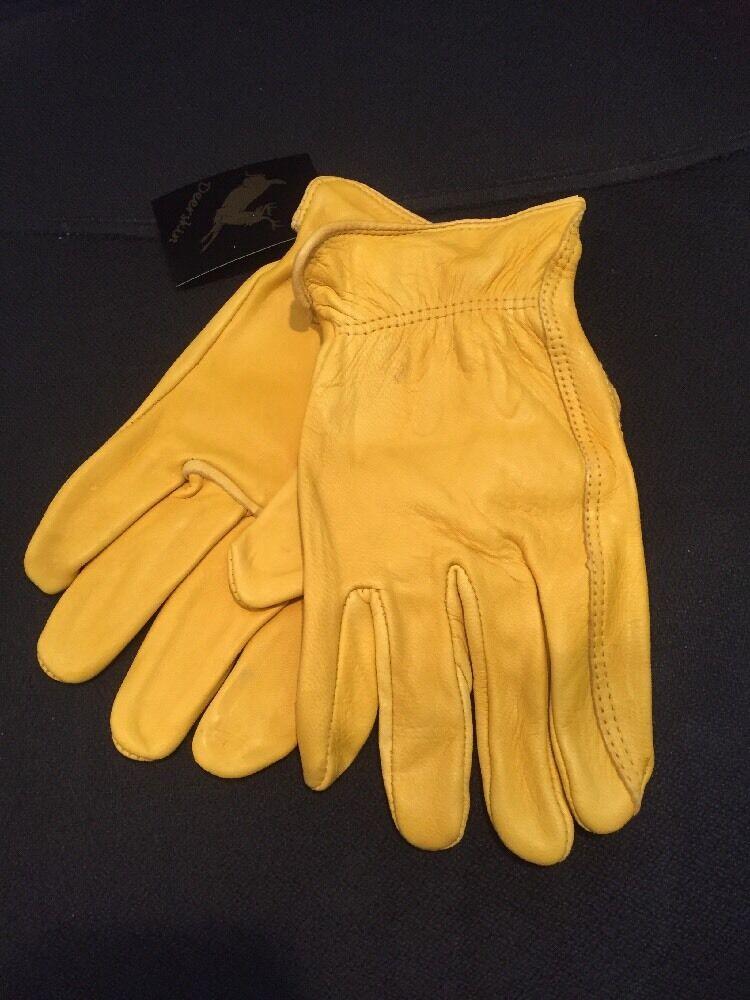Luxury Deer Skin leather Gloves Natural Unlined Men's - Large Size