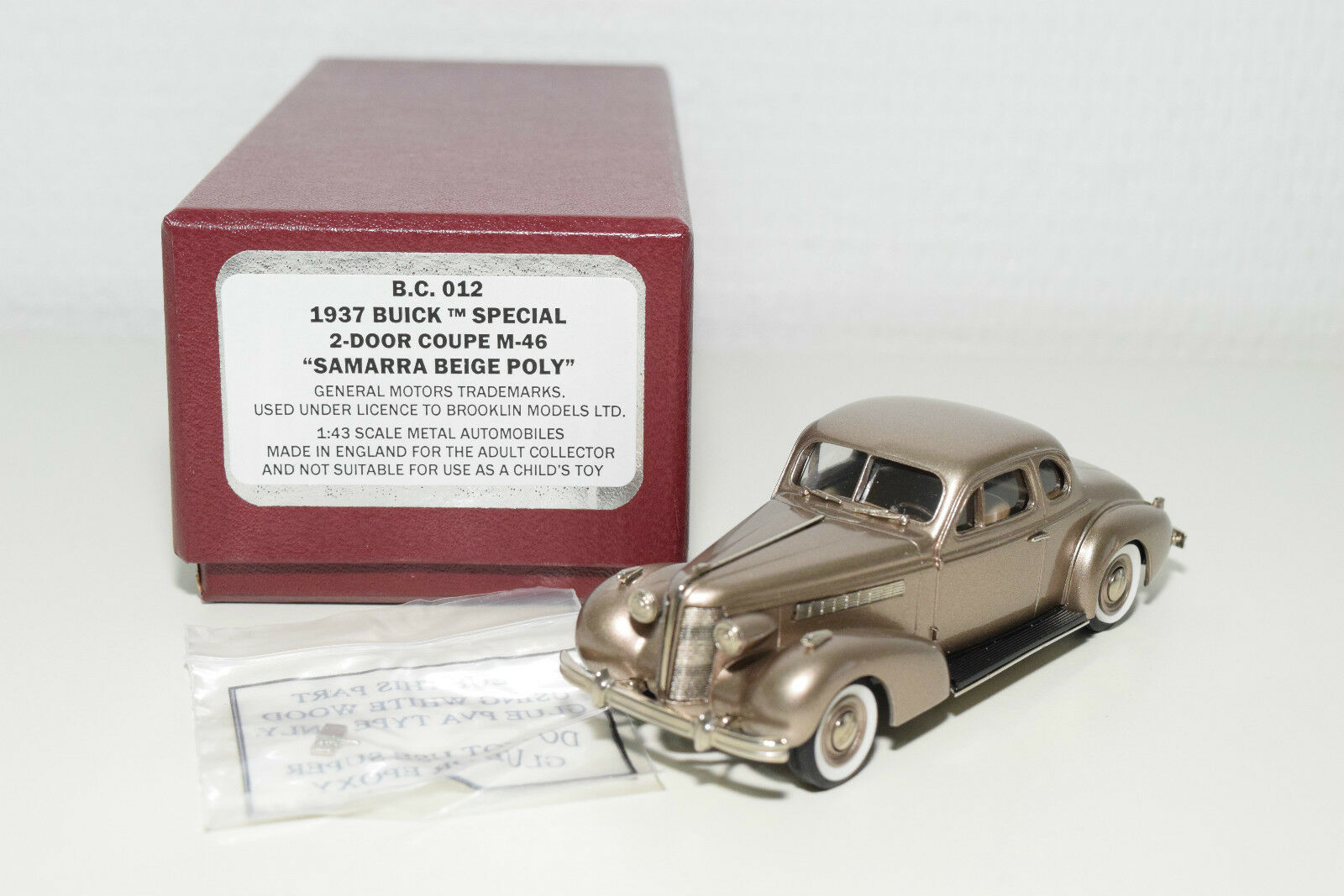 BROOKLIN B.C.012 BUICK SPECIAL 2-DOOR COUPE M-46 SAMARRA BEIGE MINT BOXED