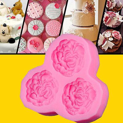 Beautiful Peony Flower Silicone Mould Sugarcraft Cake Decorating Fondant Fimo