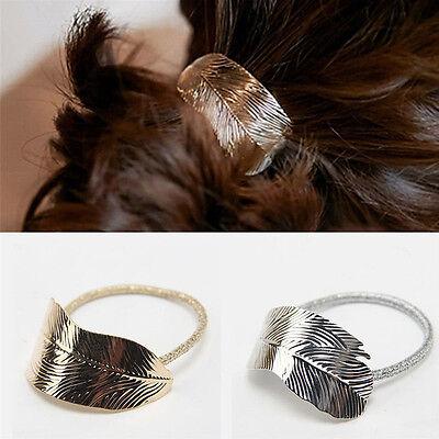 New Fashion Women Lady Leaf Hair Barrette Clip Headband Elastic Ponytail Holder