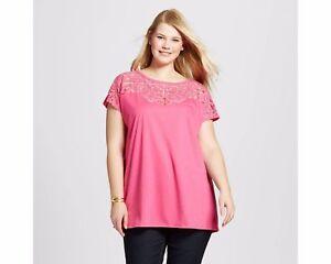 9c0eb935817 NWT Ava   Viv Plus Size Cold Shoulder Burnout T-Shirt Shirt Top Pink ...