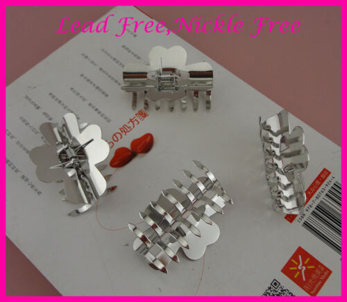 6pcs silver finish 5.0cm metal hair claws at lead free/&nickle free jaw clips big