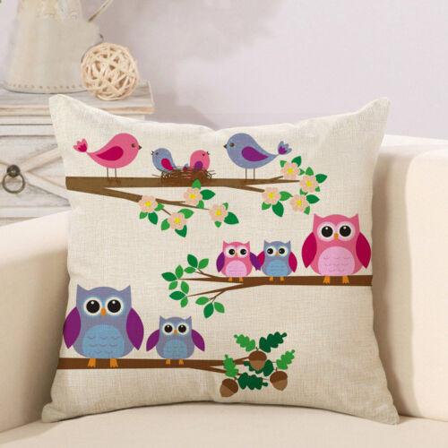 """18/"""" Carré Mignon Hibou lin coton Throw Pillow Case Sofa Cushion Cover Home Decor"""