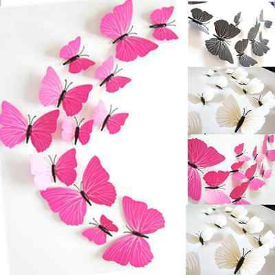 12Pcs Removable 3D Vinyl Butterfly Art Wall Sticker Home Decor DIY Decorations
