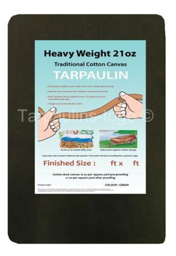 Canvas Heavy Duty Waxed Cotton Tarpaulin Cover 21oz Green Boat Log Sheets