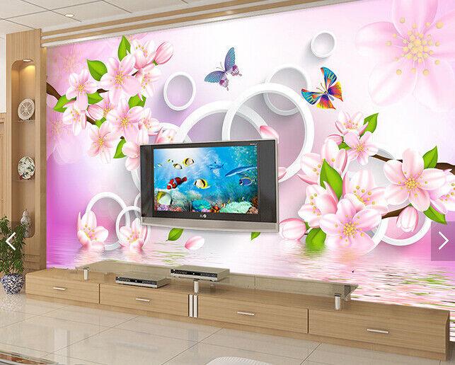 3D Flowers Butterfly8 Wallpaper Mural Paper Wall Print Wallpaper Murals UK Carly
