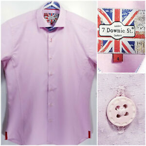 7-Downie-St-Mens-Size-4-Shirt-Short-Sleeve-Button-Up-Pink
