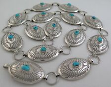Navajo W Yellowhorse SL 176g Sterling Silver & Turquoise Concho Link Belt