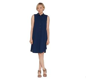 Joan Rivers Length Sleeveless Seersucker Shirt Dress Navy Petite