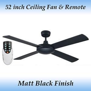 Genesis 52 inch (1300mm) Matt Black Ceiling Fan and Remote