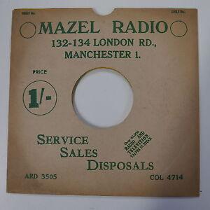 78rpm-10-034-card-gramophone-record-sleeve-cover-MAZEL-RADIO-green-white