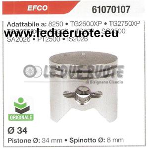 61070107 Pistón Completo Efco SA2026 PT2500 Original Cortador de Cepillo Ø 34