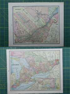 Maps atlases globes quebec ontario vintage original 1895 crams world atlas map lot gumiabroncs Image collections