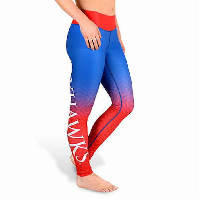 KU Kansas University Jayahawks Gradient Utskrift Workout Exercise Leggings Sz M