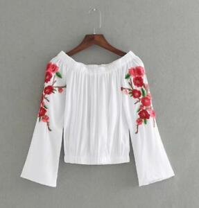 Women-Leisure-Embroidery-Flower-Just-Cavalli-Vogue-Long-Sleeve-Blouse-Shirt-Tops