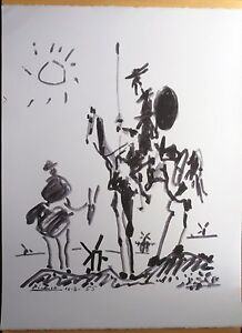 PABLO-PICASSO-DON-QUIXOTE-SIGNED-AND-DATED-ORIGINAL-FRENCH-LITHOGRAPH-56x38-COA