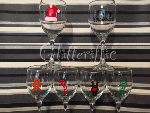 Details about  /x10 REINDEER Vinyl Decal Sticker DIY Christmas Glitter Wine Glass