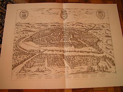 Dynamisch Große Karte Stadtansicht (nach Merian) Format Ca. 62 X 42 Cm Sevilla Spanien