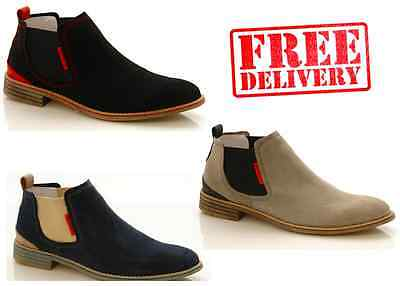 NEW MENS CHELSEA LEATHER SUEDE CASUAL FORMAL SLIP ON ANKLE BOOTS SHOES WARRANTY