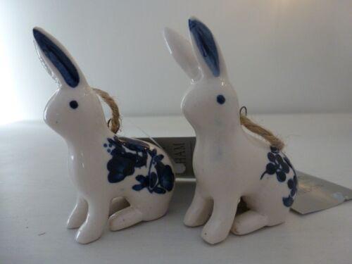 2 asst 6cm Gisela Graham Blue//White Ceramic Bunny with Flowers Easter dec