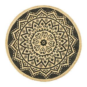Impresion-negro-Redondo-Mandala-Yute-Alfombra-trenzada-90cm-Shabby-Chic
