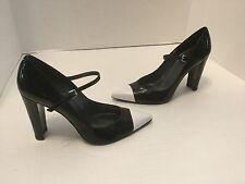 "NEW Stuart Weitzman 4"" Black Patent Leather Pumps Capped Toe Foot Strap 7 M"