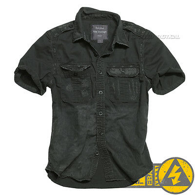 Surplus Vintage Mens Military Short Sleeve Casual Cotton Shirts, Army Tactical