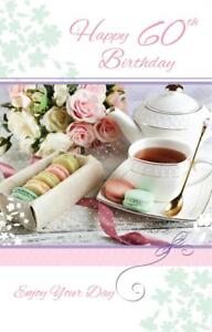 Incredible Stunning Glitter Coated Tea Cakes Flowers Happy 60Th Birthday Funny Birthday Cards Online Alyptdamsfinfo