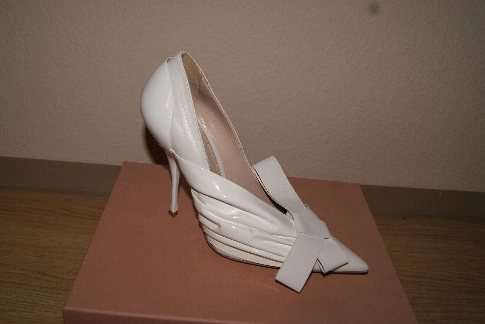 Miu Miu 39 by Prada Pumps Gr. 39 Miu Damenschuhe Abendschuhe weiß Hochzeit Schuhe NEU 3e171e