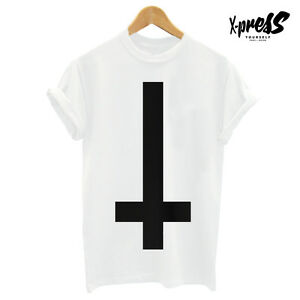 Cross Print Mens T Shirt Religion Hype Swag Black White Girl Tumblr