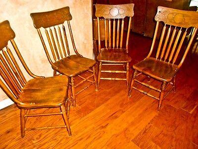 Set of 4 original 1880's antique arrow back pressed oak saloon / kitchen chairs