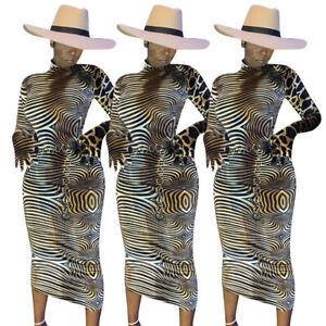 Stylish-New-Women-039-s-Long-Sleeves-Zebra-amp-Lepoard-Print-Bodycon-Clubwear-Midi-Dress