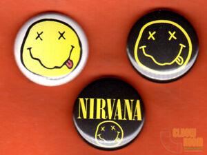 "Set of three 1/"" Nirvana pins buttons band rock alternative grunge Cobain Seattle"