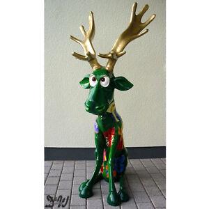 elch rentier rudi gr n deko garten figur weihnachten dekoration geschenke advent ebay. Black Bedroom Furniture Sets. Home Design Ideas