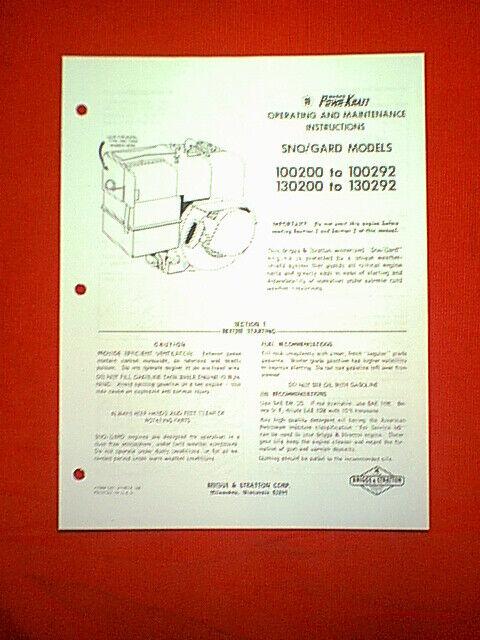 Briggs And Stratton 100292 Manual Guide