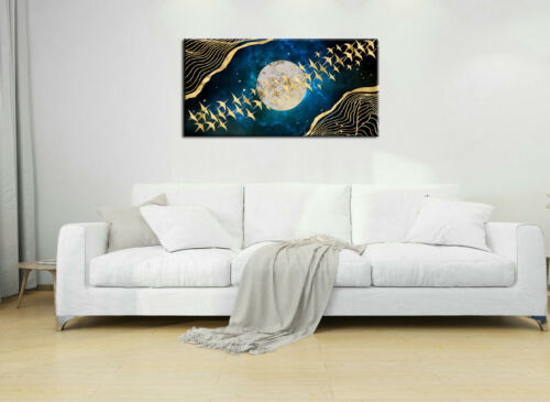 Art Wall Gold Bird Abstract Decoration Feng Shui Painting Printed On Canvas Deco