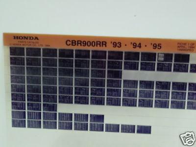 Honda CBR900RR 1993-1997 Parts List Microfiche h342