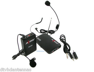 Axess Mpwl1503 Wireless Cordless Lapel Lavalier Headset Mic Microphone System