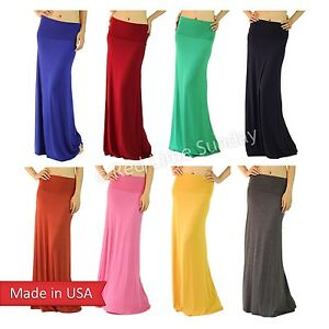 Women-Urban-Essential-Rayon-Solid-Color-Stretchy-Fold-Over-Long-Maxi-Skirt-USA