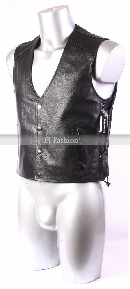 Mens New Laced Biker Motorcycle Leather Lace Waistcoat