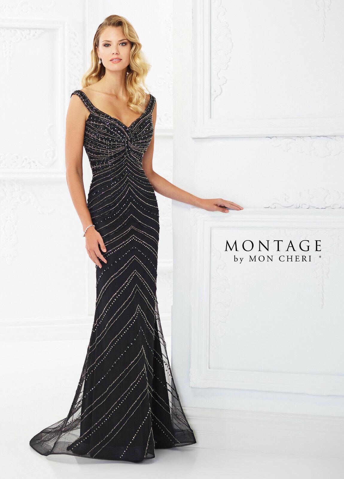 Authentic Montage by Mon Cheri 118985-Color Black-Sz 16-Mother of the Bride