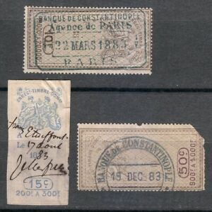 France-1883-Enregt-Timbre-Revenue-Fiscal-Tax-stamps-Banque-Constantinople-used