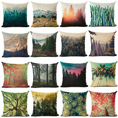 Jungle Mountain Print Cotton Linen Pillow Case Cushion Cover Fashion Home Decor