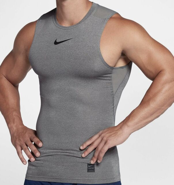 Nike Pro Fitted Compression Shirt Men's Grey Workout Shirt Athletic Tank Top