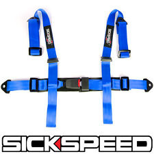 "1PC BLUE 4 POINT 2"" NYLON RACING HARNESS ADJUSTABLE SAFETY SEAT BELT BUCKLE Q1"